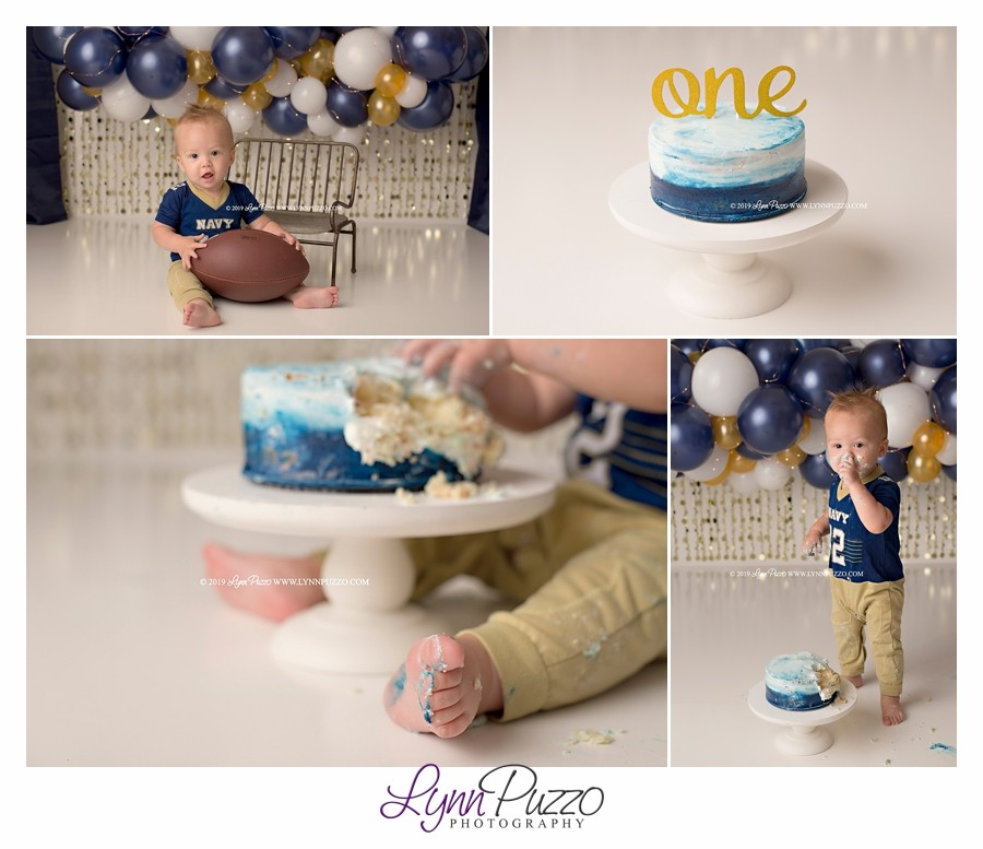 boy cake smash, blue cake smash, navy cake smash, football cake smash, cake smash, smash cake, cake smash session, cake smash photographer, milestone photographer, first birthday photographer, fayetteville ga photographer, atlanta cake smash photographer, atlanta photographer, baby photographer, newnan cake smash photographer