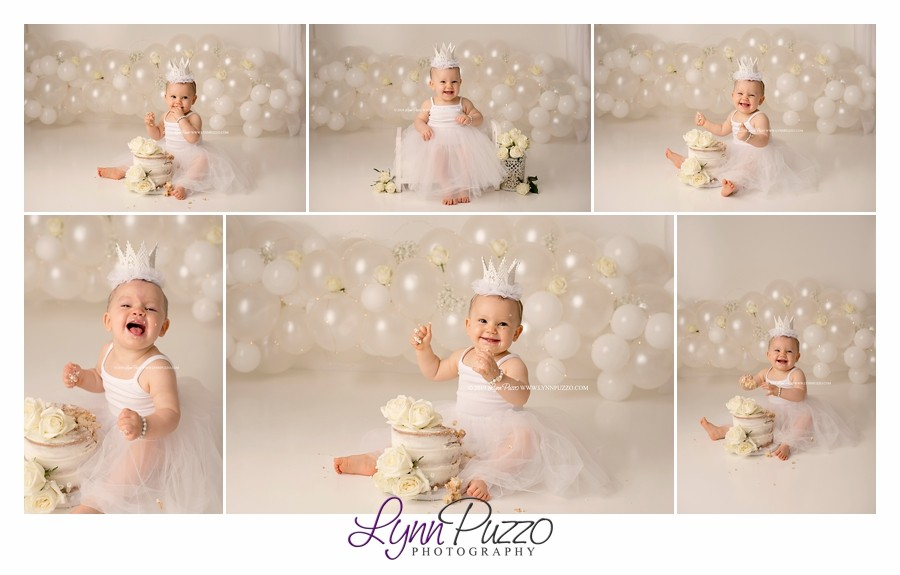 all white cake smash, simple cake smash, classic cake smash, cake smash, naked cake, white balloon garland, first birthday, atlanta cake smash photographer, lynn puzzo photography, lynn puzzo birthdays, fayetteville ga photographer, atlanta baby photographer,